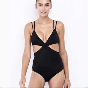 Brand New Lands End Black Sexy Monokini Size 12